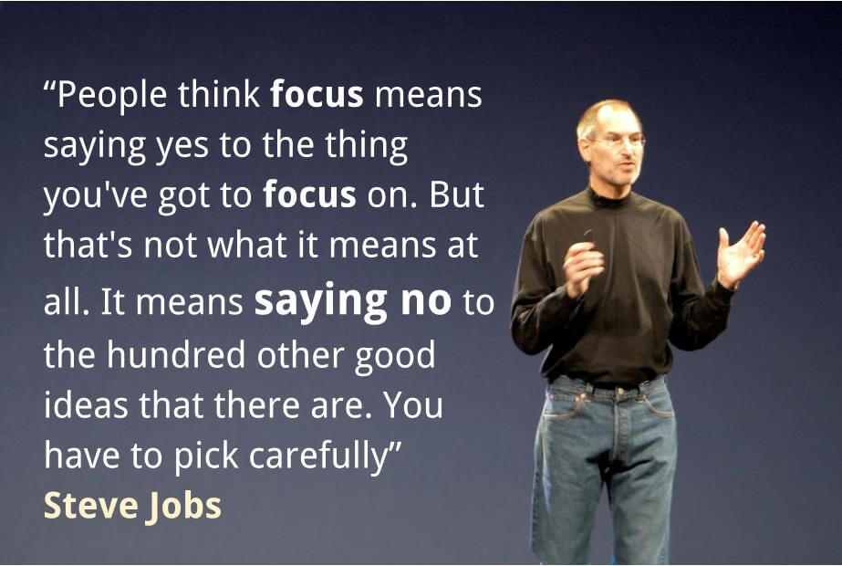 Steve Jobs citation: People think focus means saying yes to the thing you've got to focus on. But that's not what it means at all. It means saying no to the hundred other good ideas that there are. You have to pick carefully